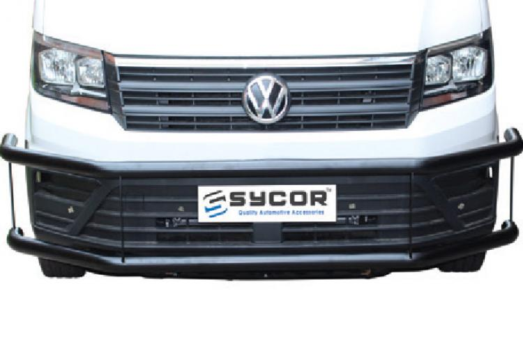 Crafter Sycor Front Bumper Protector Stainless & Black Stainless Steel (PDC Friendly)