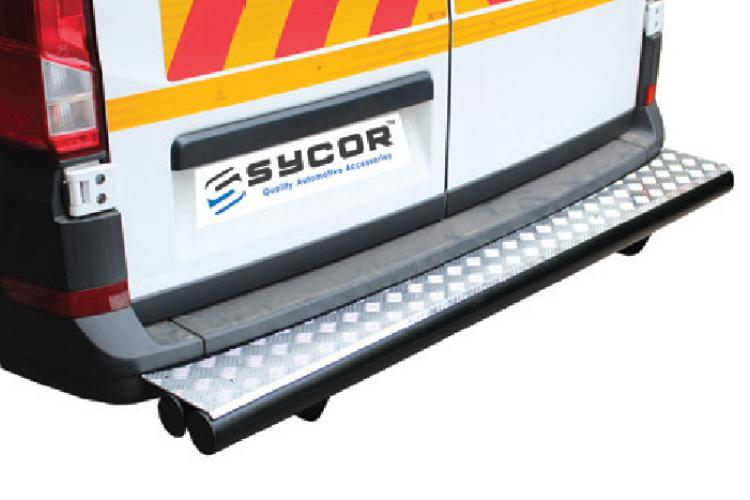 Crafter Sycor Rear Bumper Protector Stainless & Black Stainless Steel (PDC Friendly)